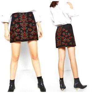 ZARA 100% Cotton Boho Embroidered Black Skirt